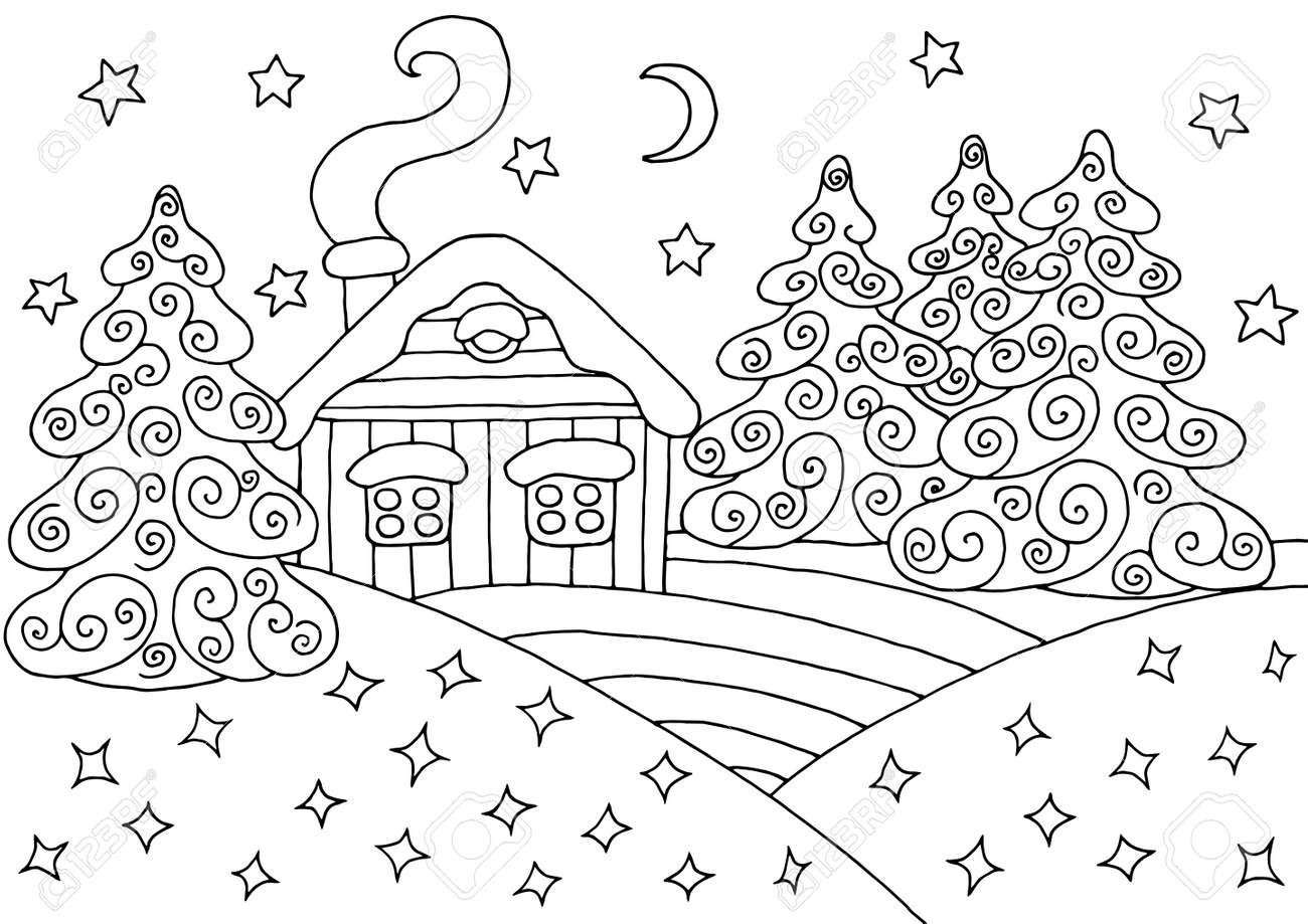 Snow globe with presents. Coloring page. Black and white vector  illustration.