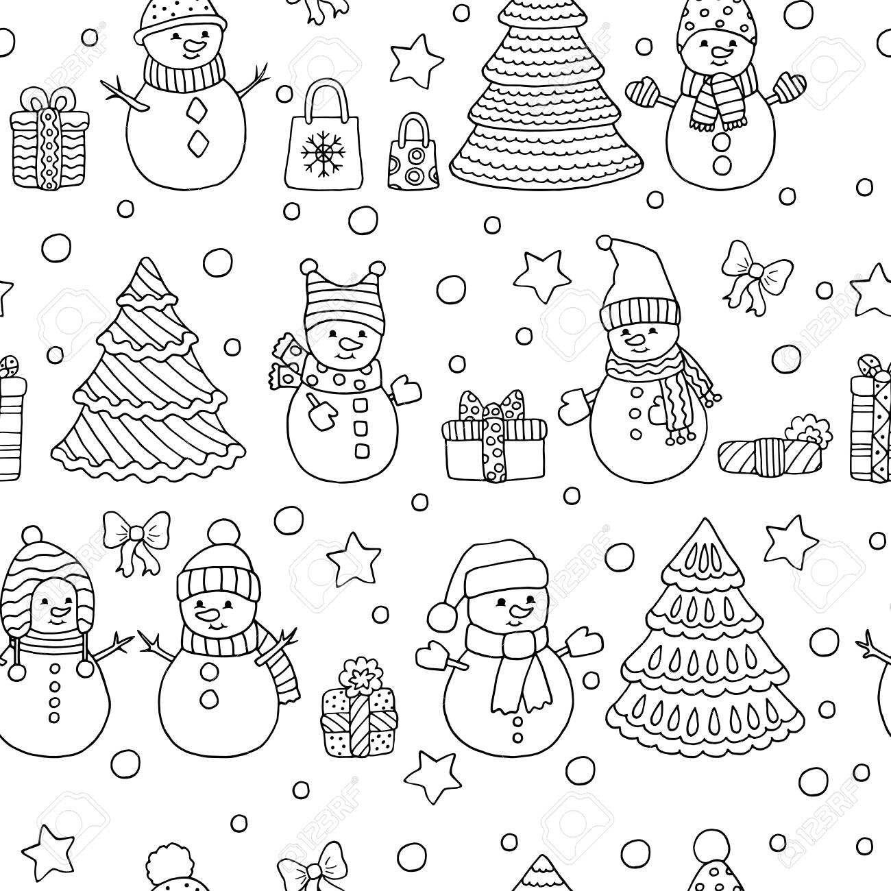 Winter Christmas Seamless Pattern With Cute Doodle Snowmen With Royalty Free Cliparts Vectors And Stock Illustration Image 133357218