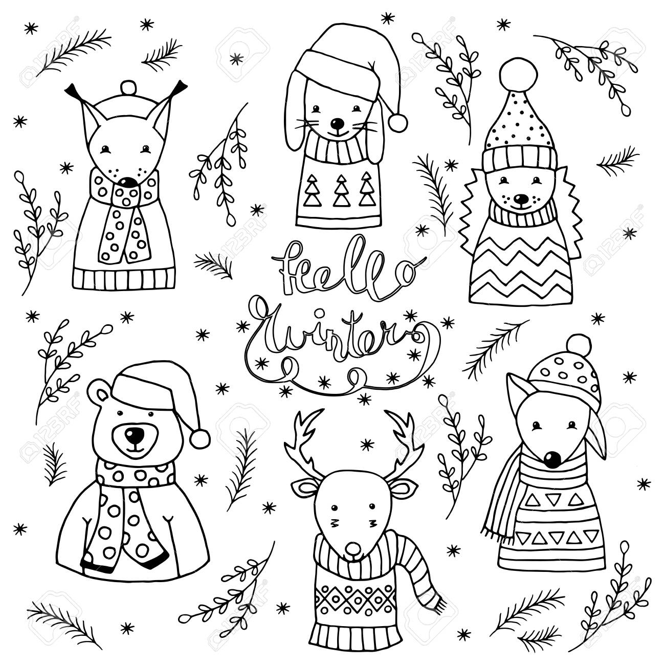 Coloring Page With Winter Set Of Cute Christmas Animals In Scandinavian Royalty Free Cliparts Vectors And Stock Illustration Image 136665301