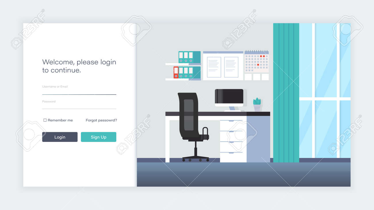 Workplace Cabinet Flat Design Banner For Web Design Royalty Free Cliparts Vectors And Stock Illustration Image 152459370