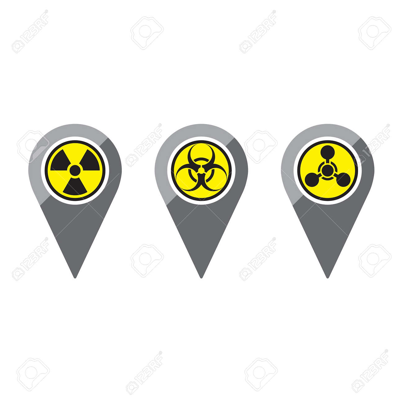 three simple clean map pins in a flat or metro graphical style three simple clean map pins in a flat or metro graphical style representing various warnings