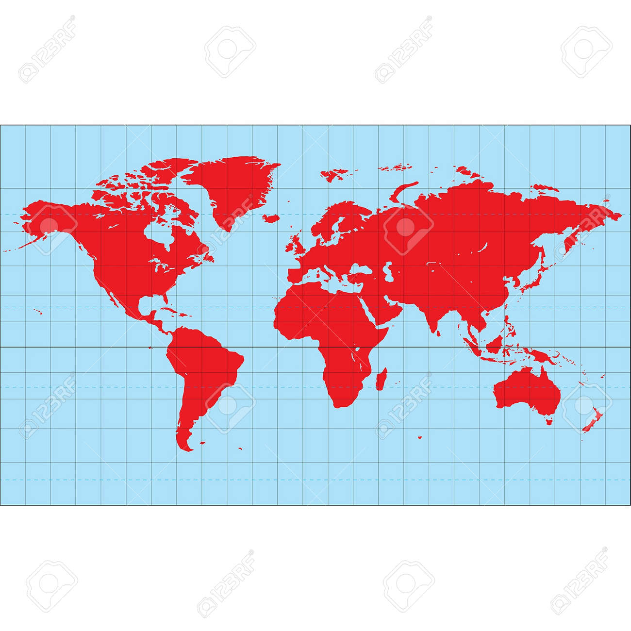 A world map based on the miller cylindrical projection royalty free a world map based on the miller cylindrical projection stock vector 23245247 gumiabroncs Gallery
