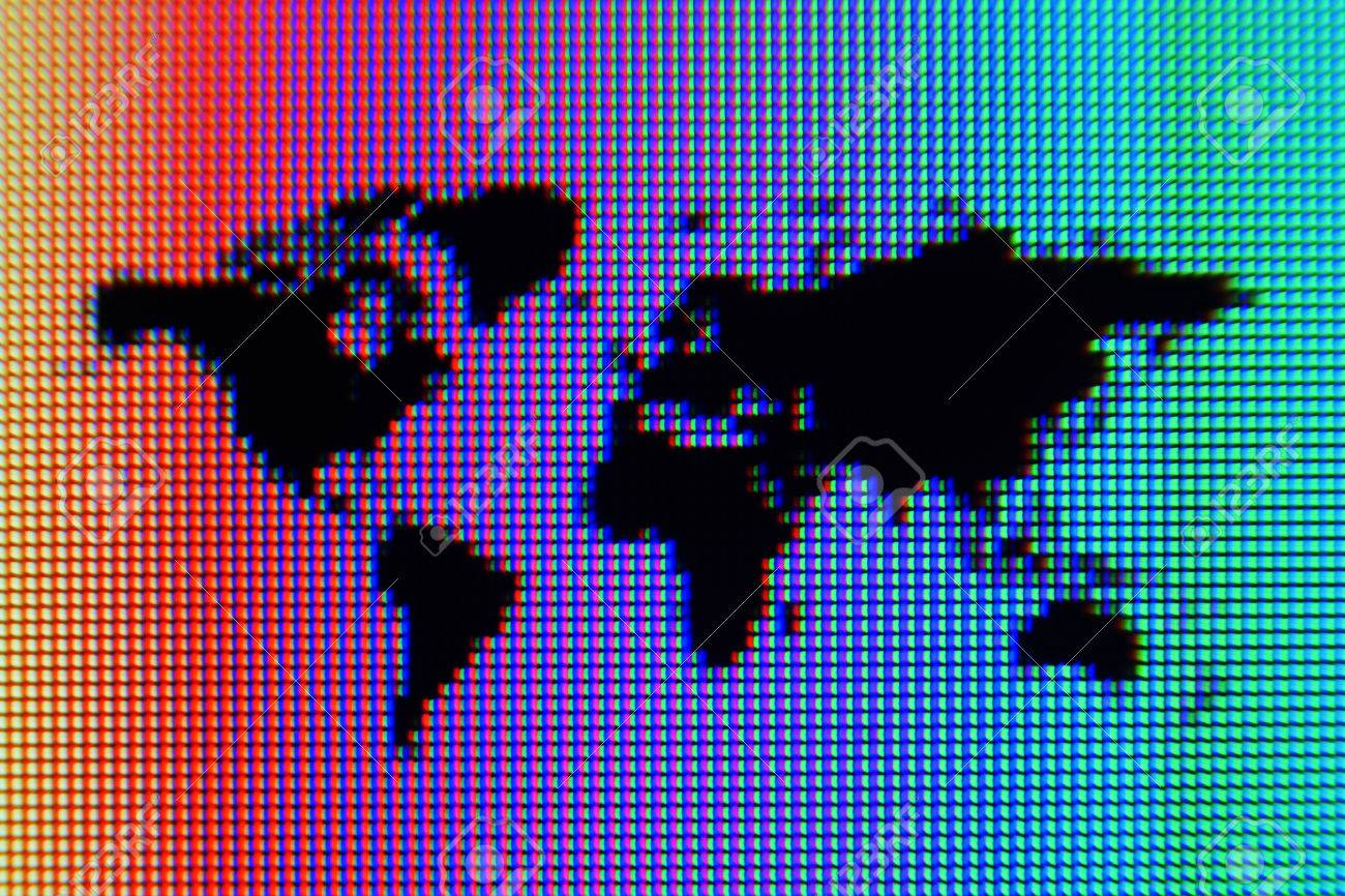 A macro shot of a black world map graphic on a computer screen a macro shot of a black world map graphic on a computer screen with a rainbow gumiabroncs Images