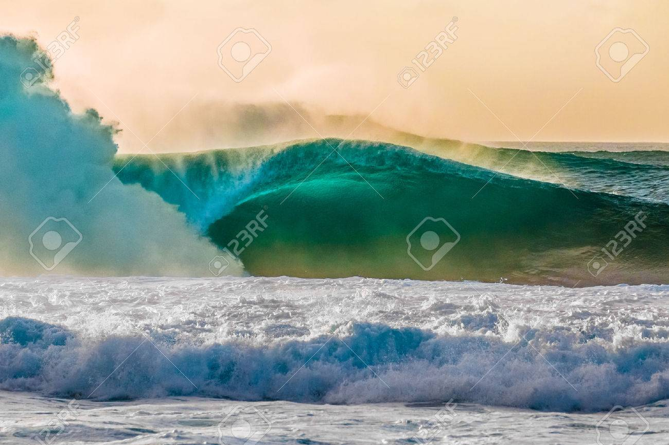 df1e7f0b5f Stock Photo - The world famous Bonzai Pipeline surf wave on the North Shore