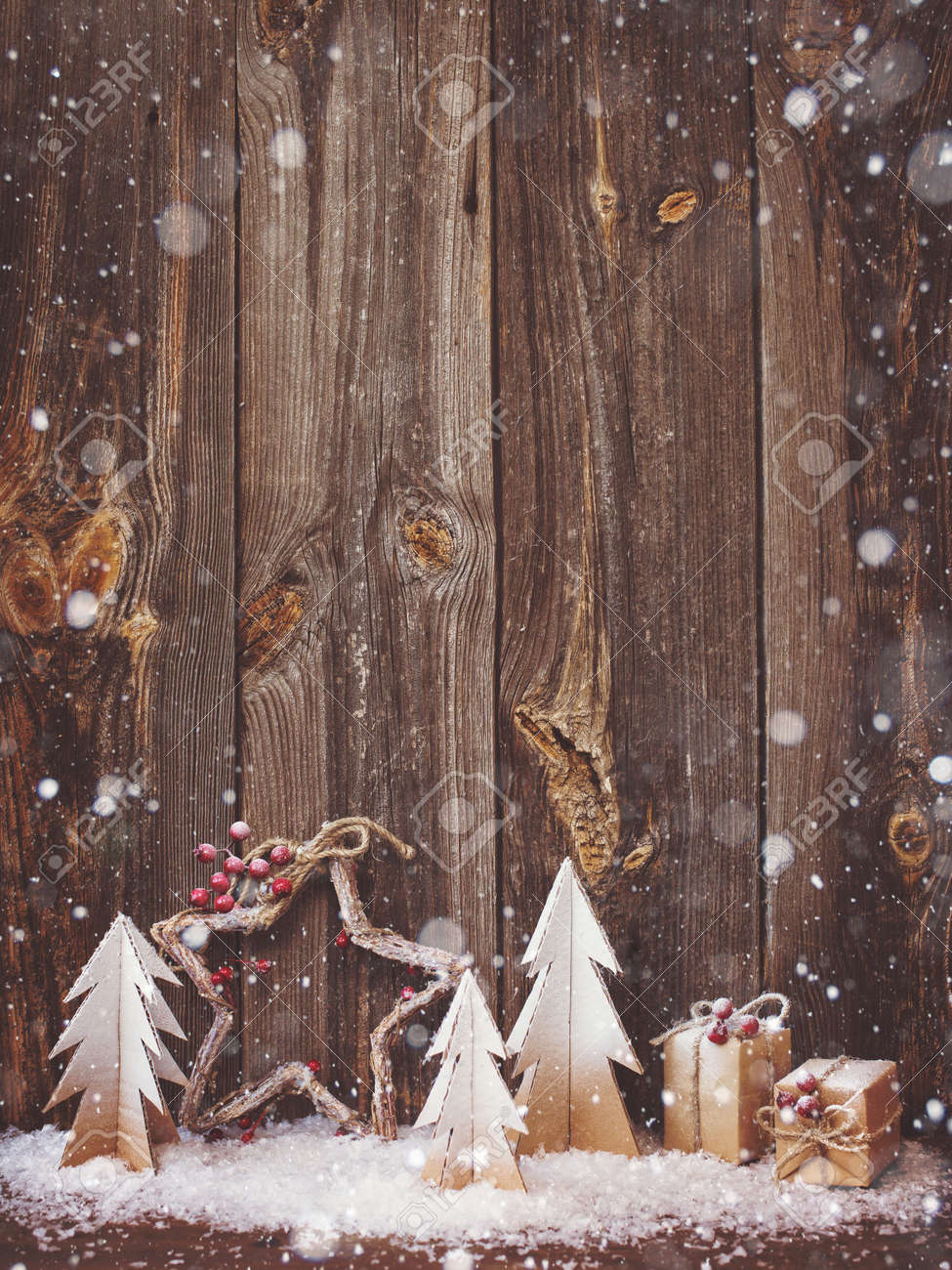 Christmas decoration over wooden background - 85112483