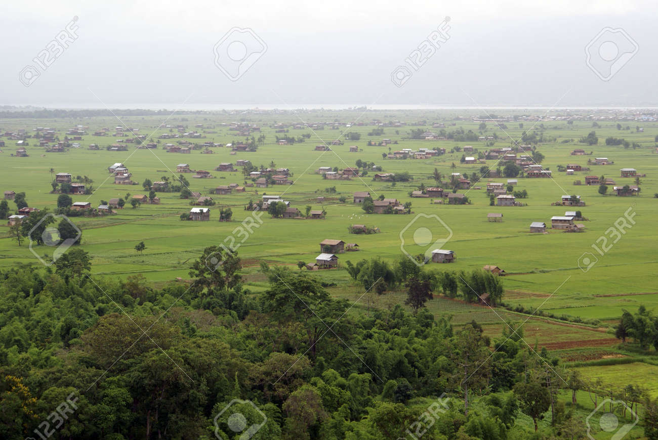 Forest and green fields near Ibnle lake, Shan State, Myanmar Stock Photo - 3391105