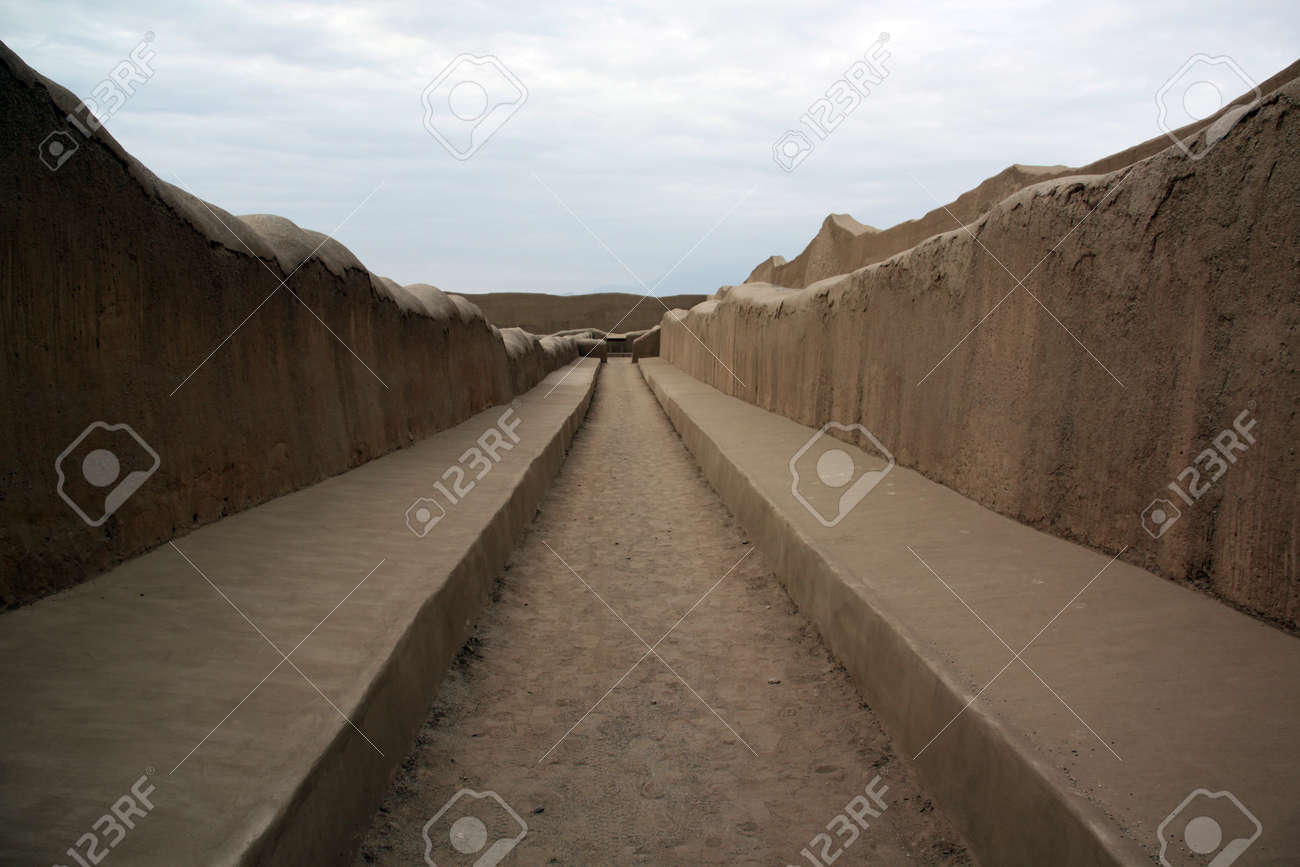 Amazing Long Pictures For Walls Part - 14: Long Walls And Street In Ruins Of Chan Chan In North Peru Stock Photo -  7641175
