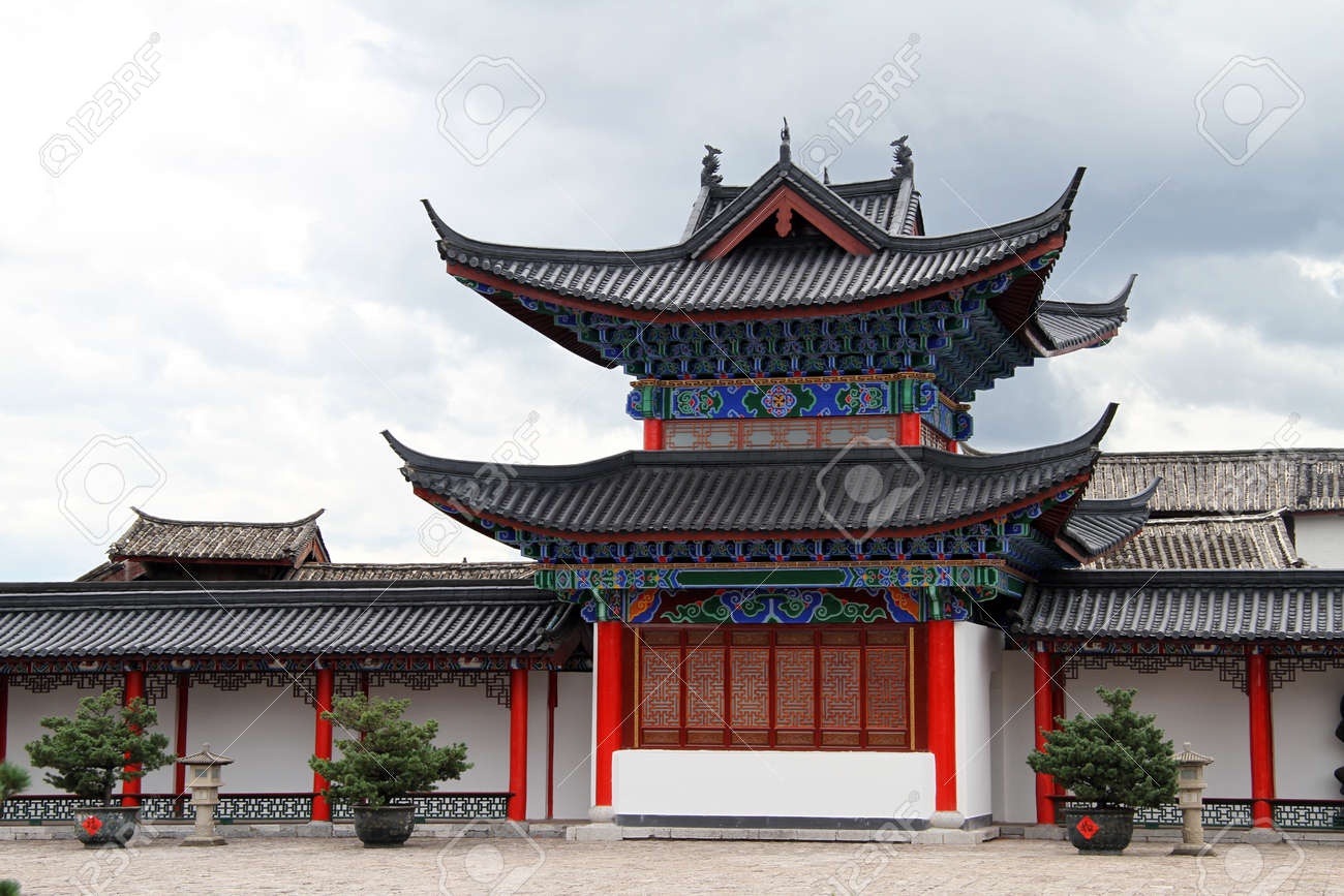 old chinese pagoda in the inner yard of mu residence in lijiang