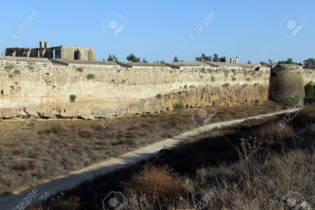 Road in moat near city wall in Famagusta, North Cyprus