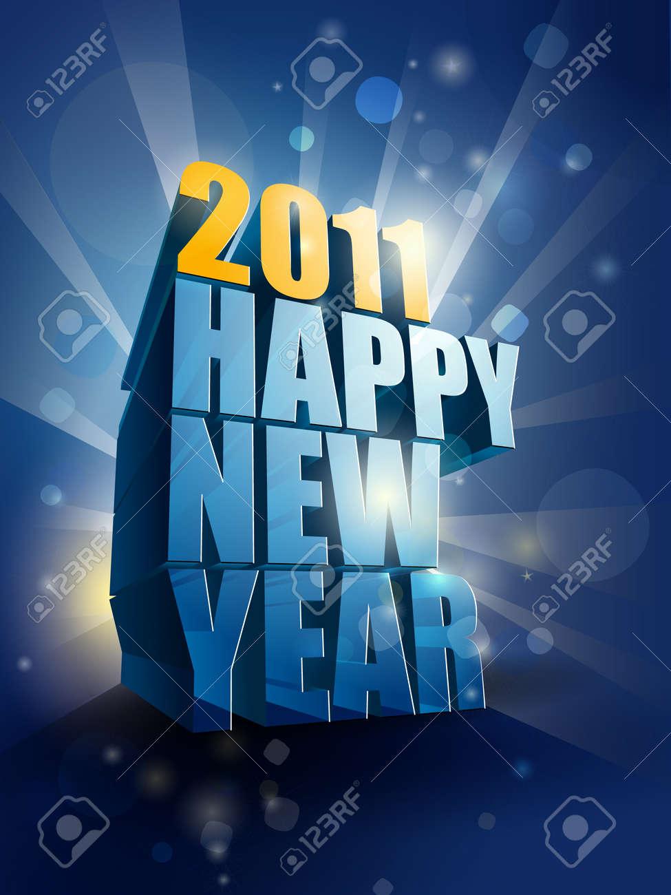 2011 Happy New Year card illustration Stock Vector - 8333666