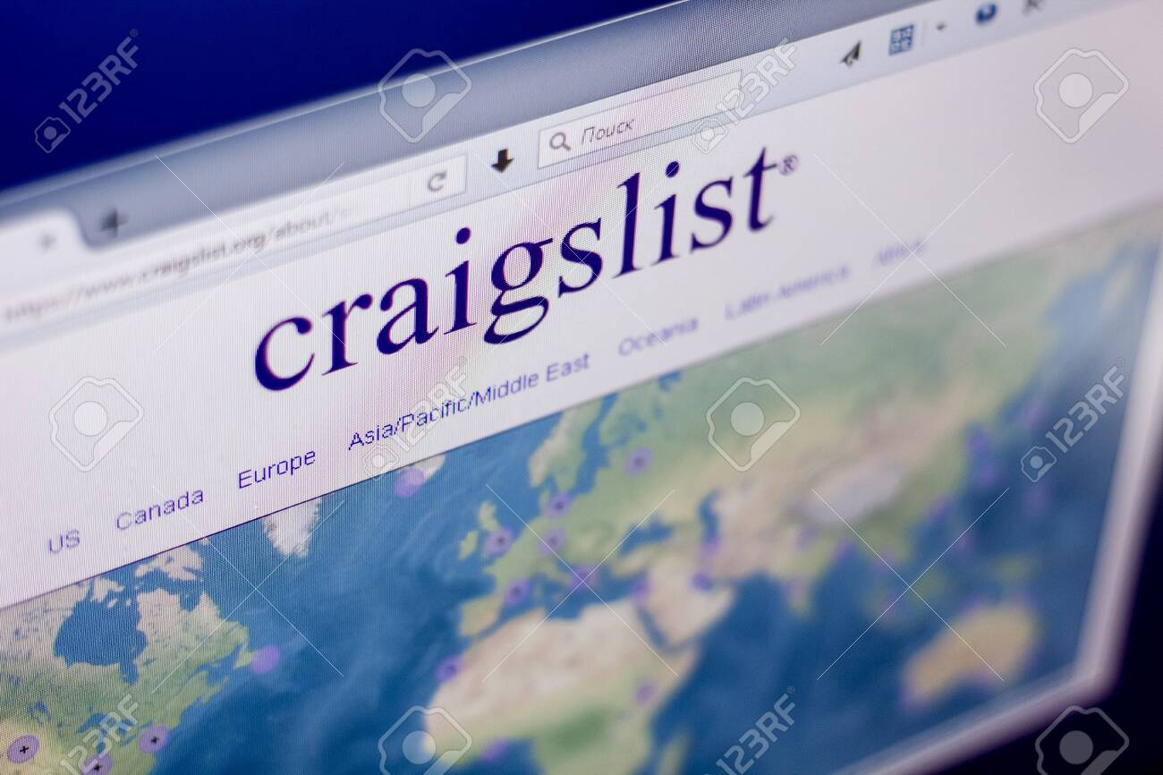 Ryazan, Russia - March 01, 2018 - Homepage of Craigslist on a