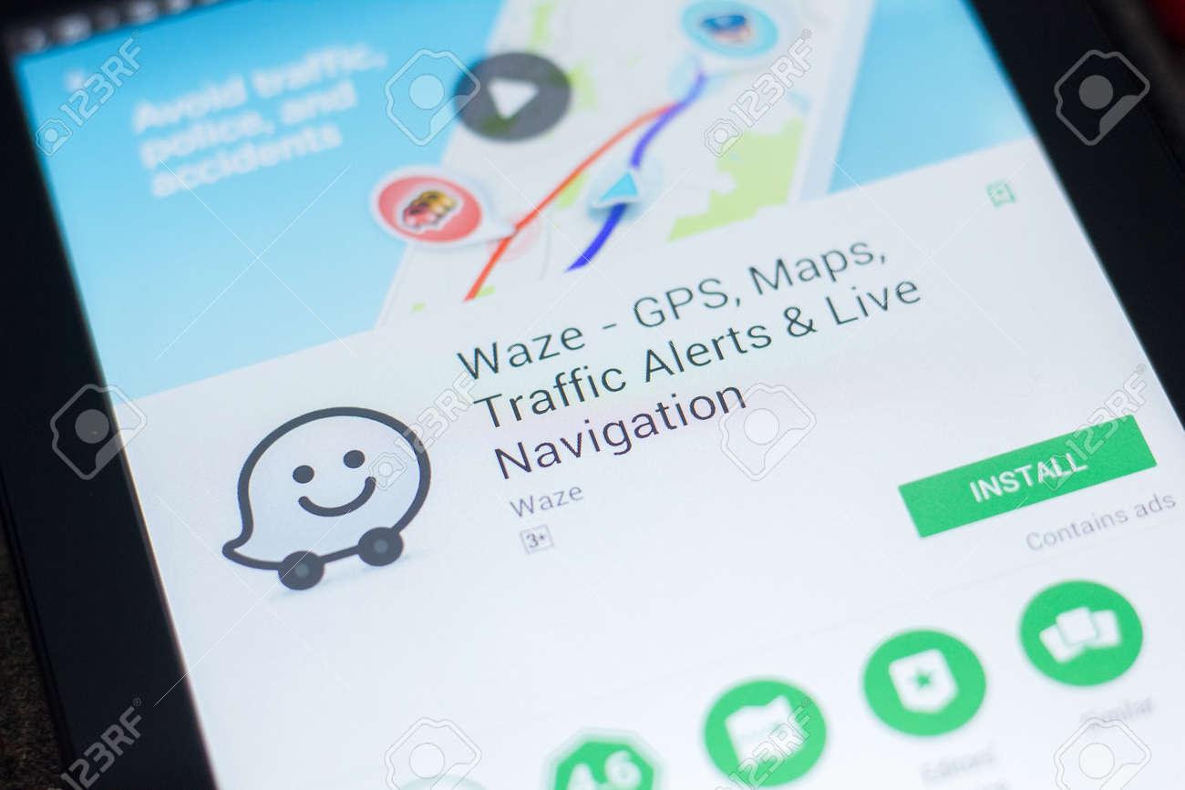 Ryazan, Russia - April 19, 2018 - Waze mobile app on the display