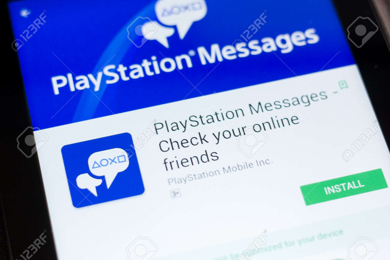 Ryazan, Russia - June 24, 2018: PlayStation Messages mobile app