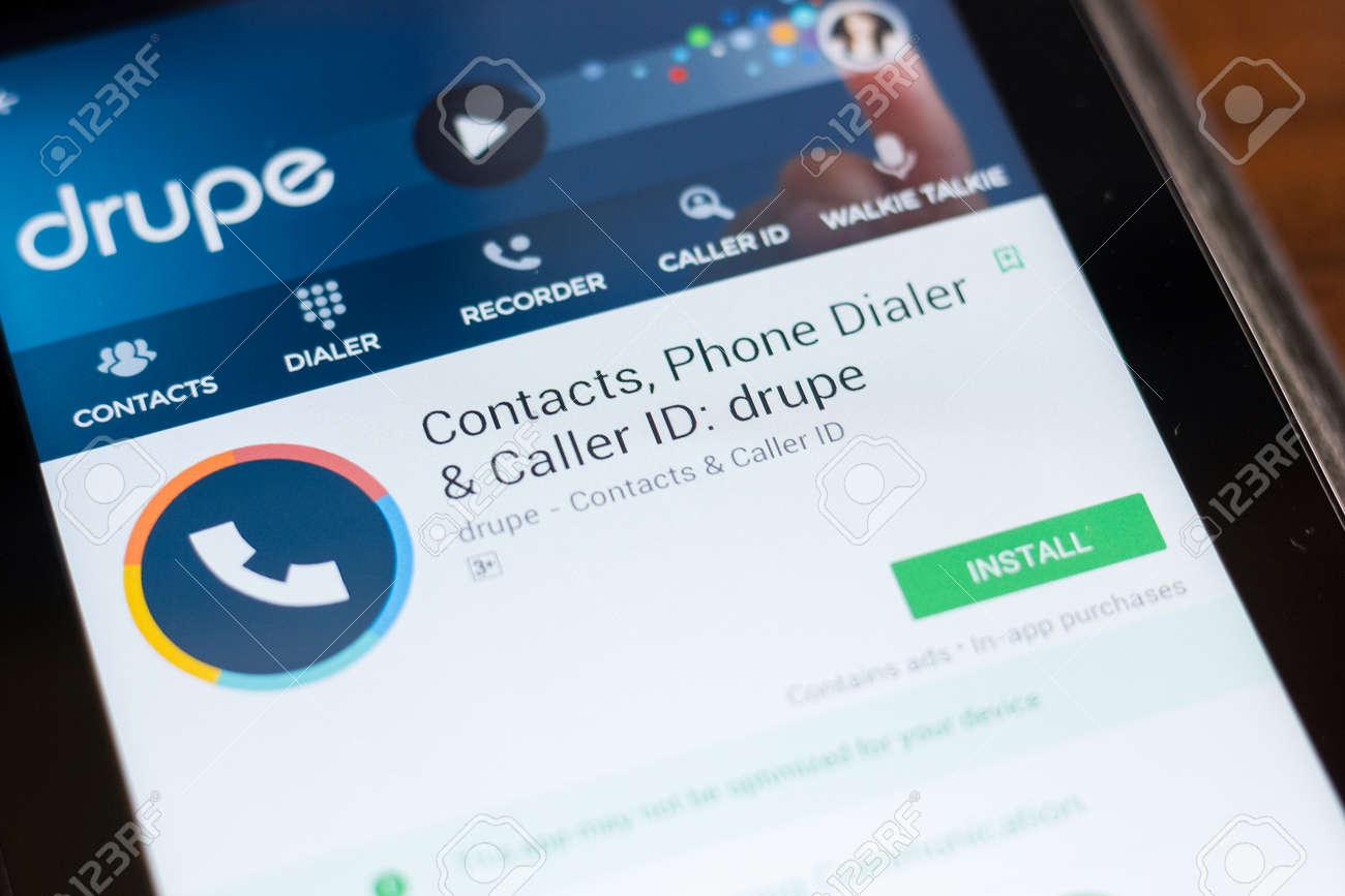 Ryazan, Russia - June 24, 2018: Drupe Contacts, phone Dialer