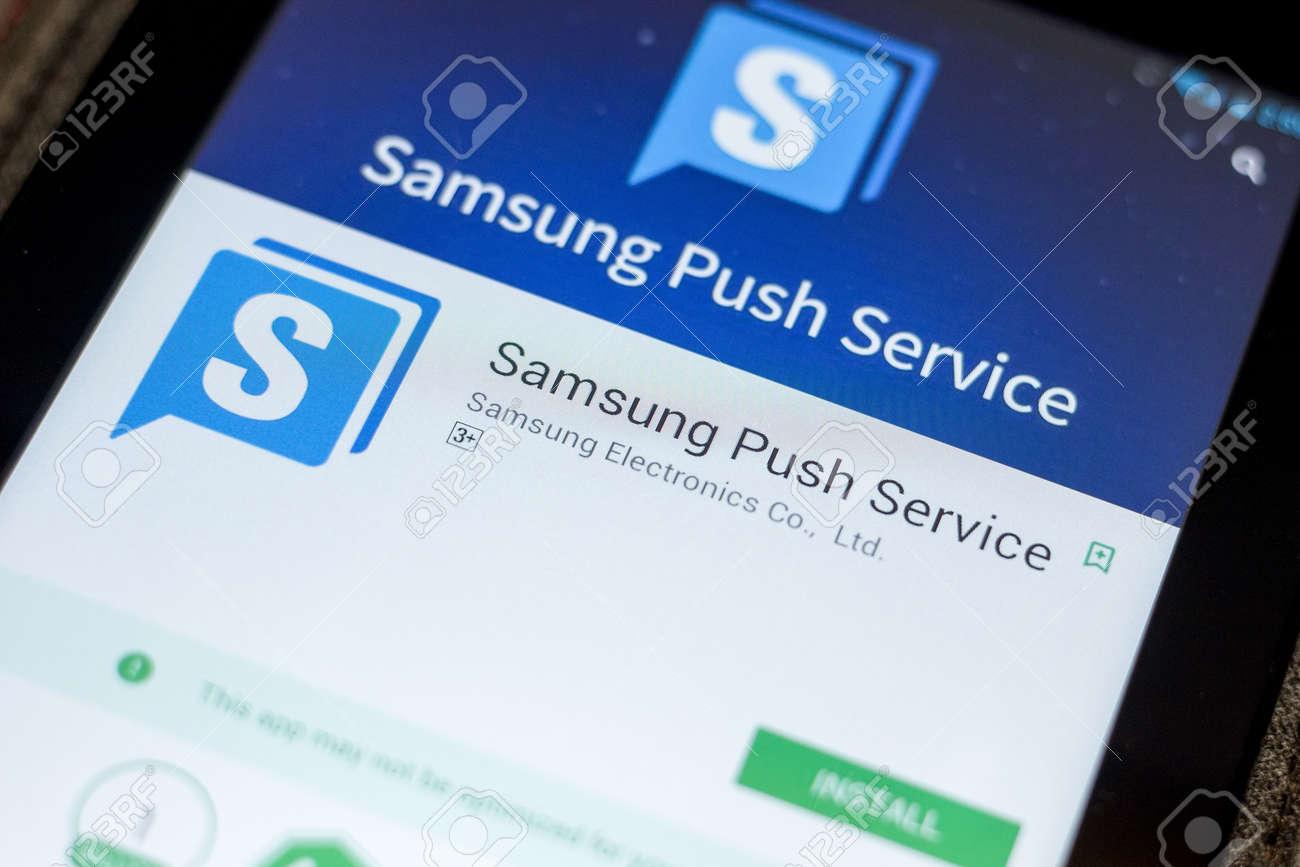 Ryazan, Russia - July 03, 2018: Samsung Push Service icon in