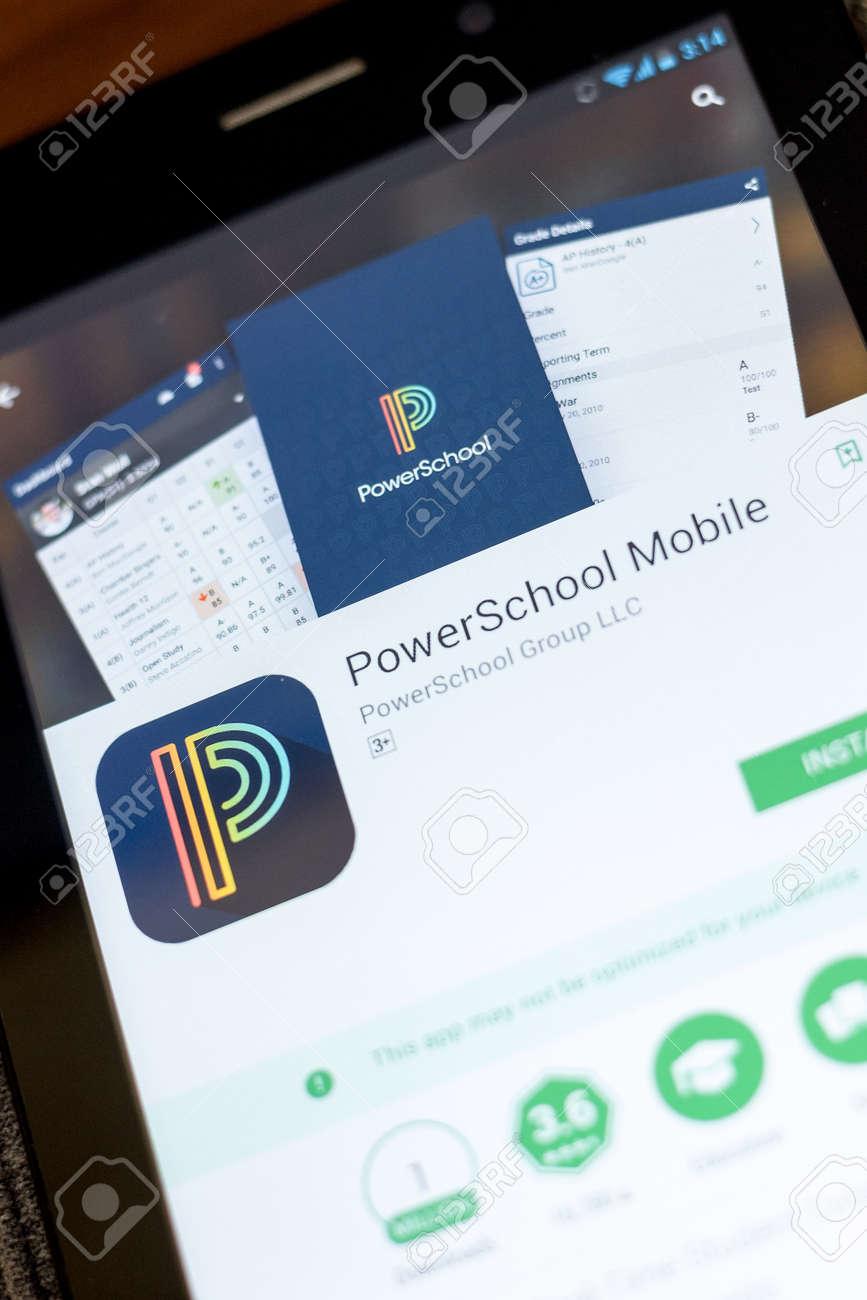 Ryazan Russia July 03 2018 Powerschool Mobile Icon In The List