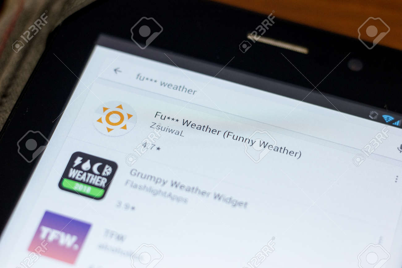 Ryazan, Russia - July 03, 2018: Fu*** Weather (Funny Weather) mobile app on  the display of tablet PC