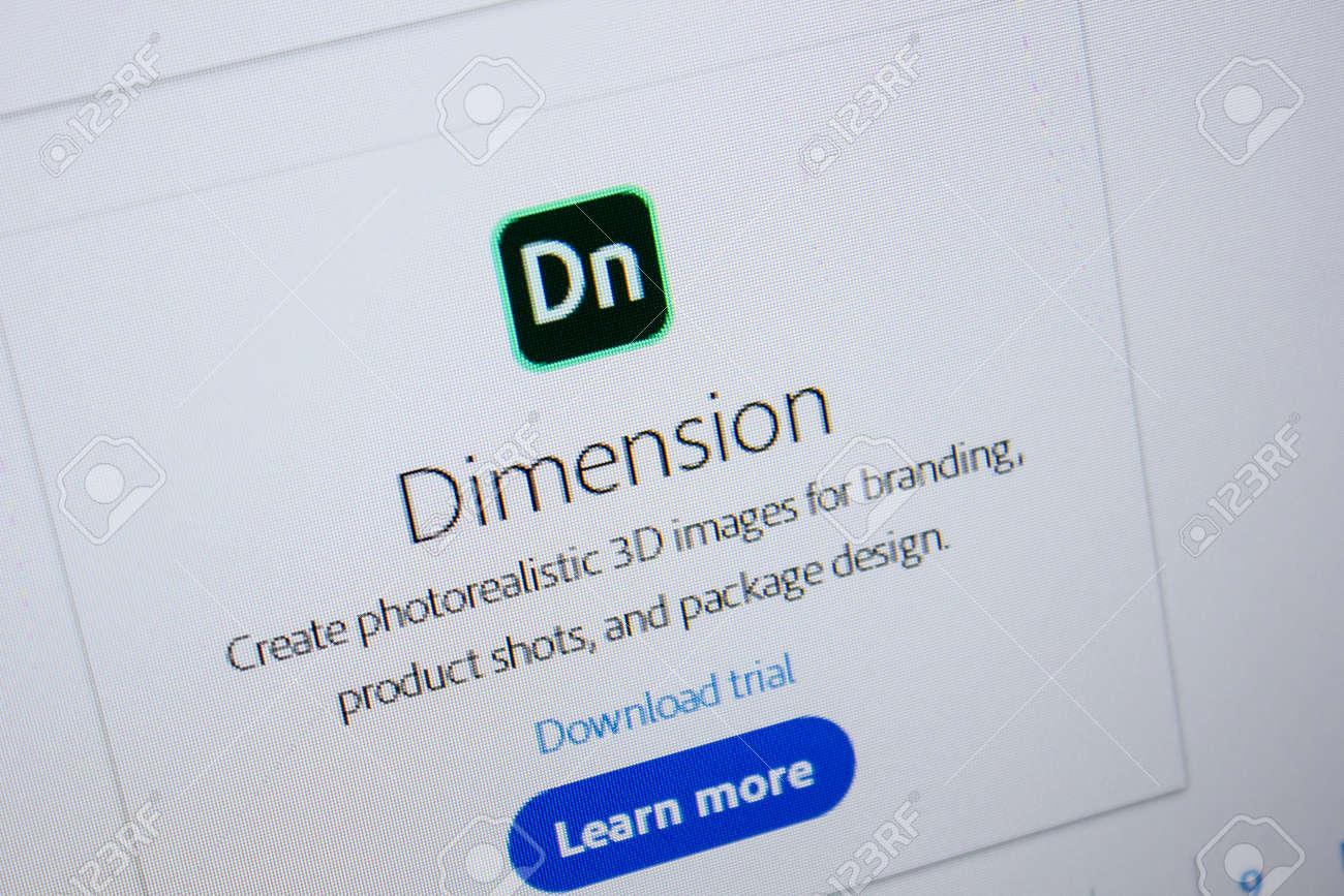 Ryazan, Russia - July 11, 2018: Adobe Dimension, software logo