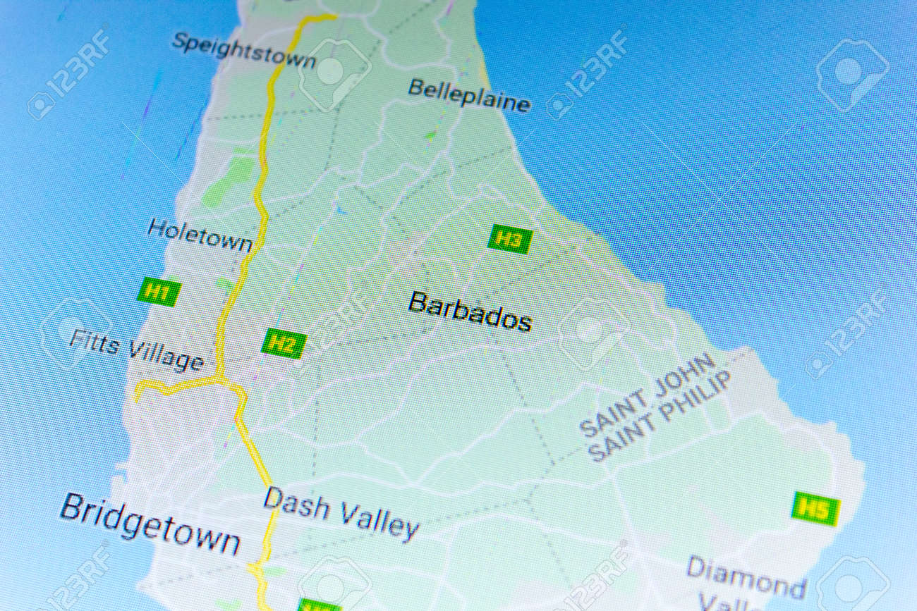 Ryazan, Russia - July 08, 2018: Country of Barbados on the google