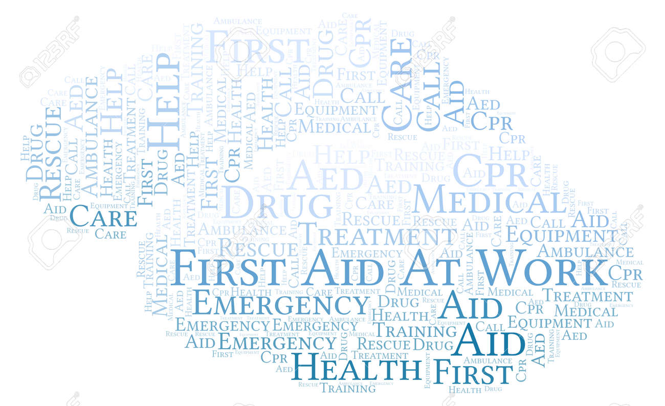 first aid at work word cloud made with text only stock photo