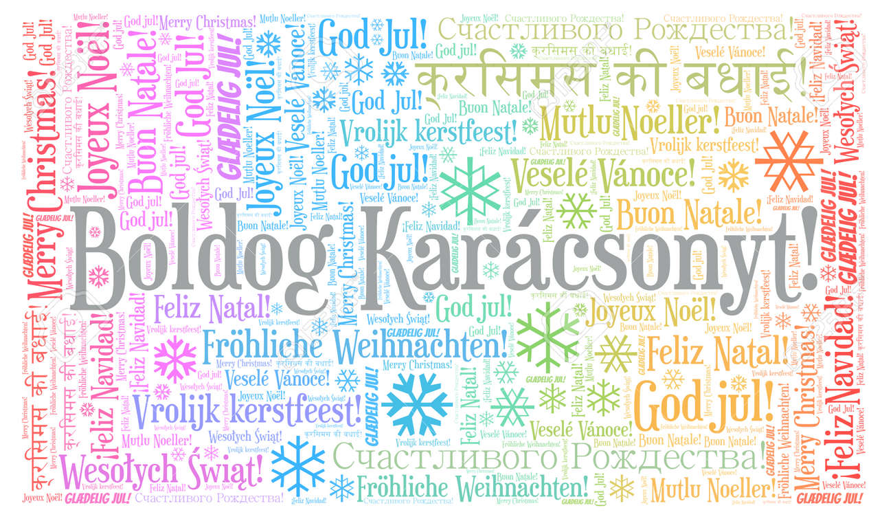 Boldog Kar�csonyt Word Cloud - Merry Christmas On Hungarian Language... Stock Photo, Picture And Royalty Free Image. Image 113103957.