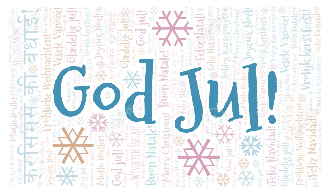 God Jul Word Cloud Merry Christmas On Swedish Language International Christmas Concept