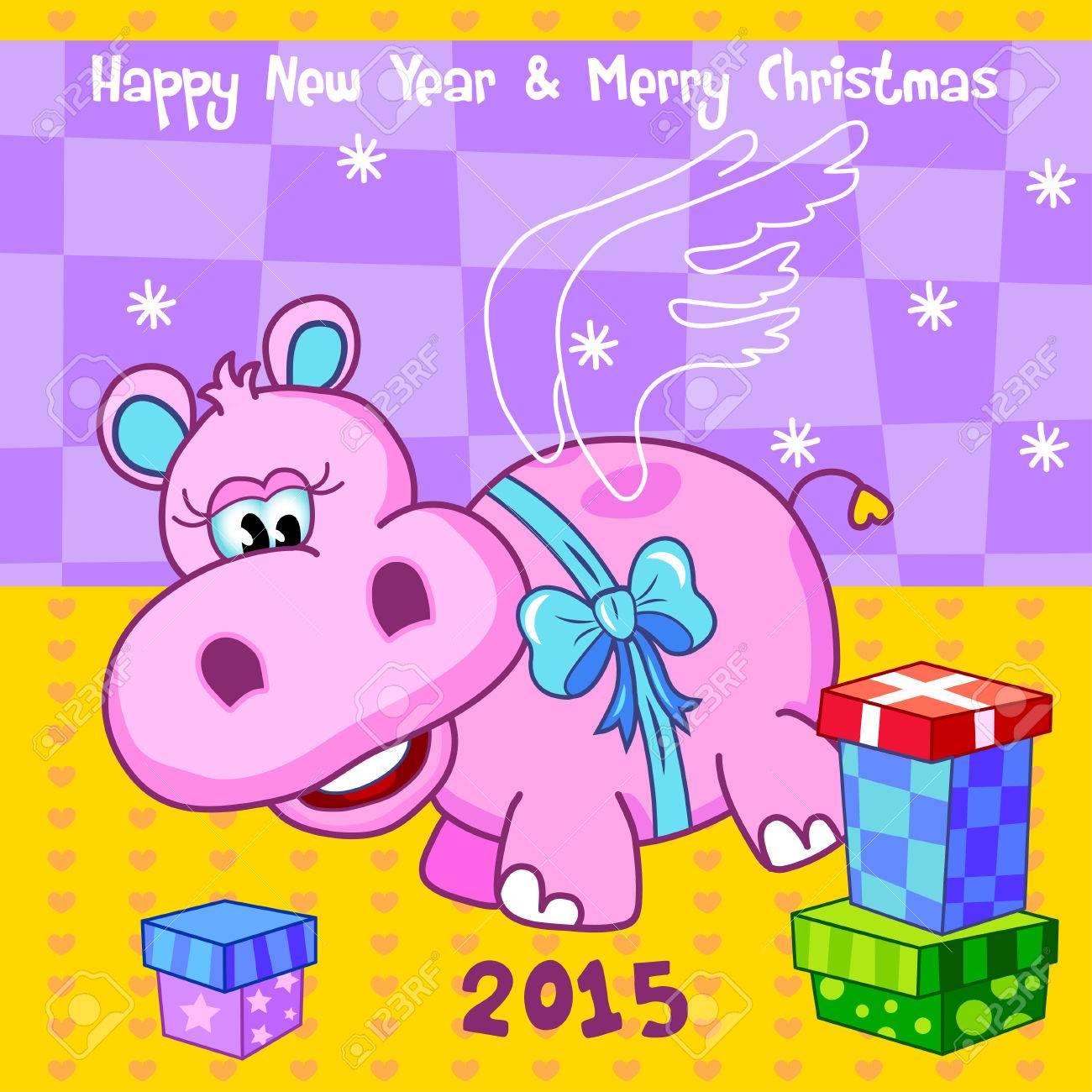 Cute Cheerful Flying Pink Hippopotamus Hippo Behemoth With A Blue