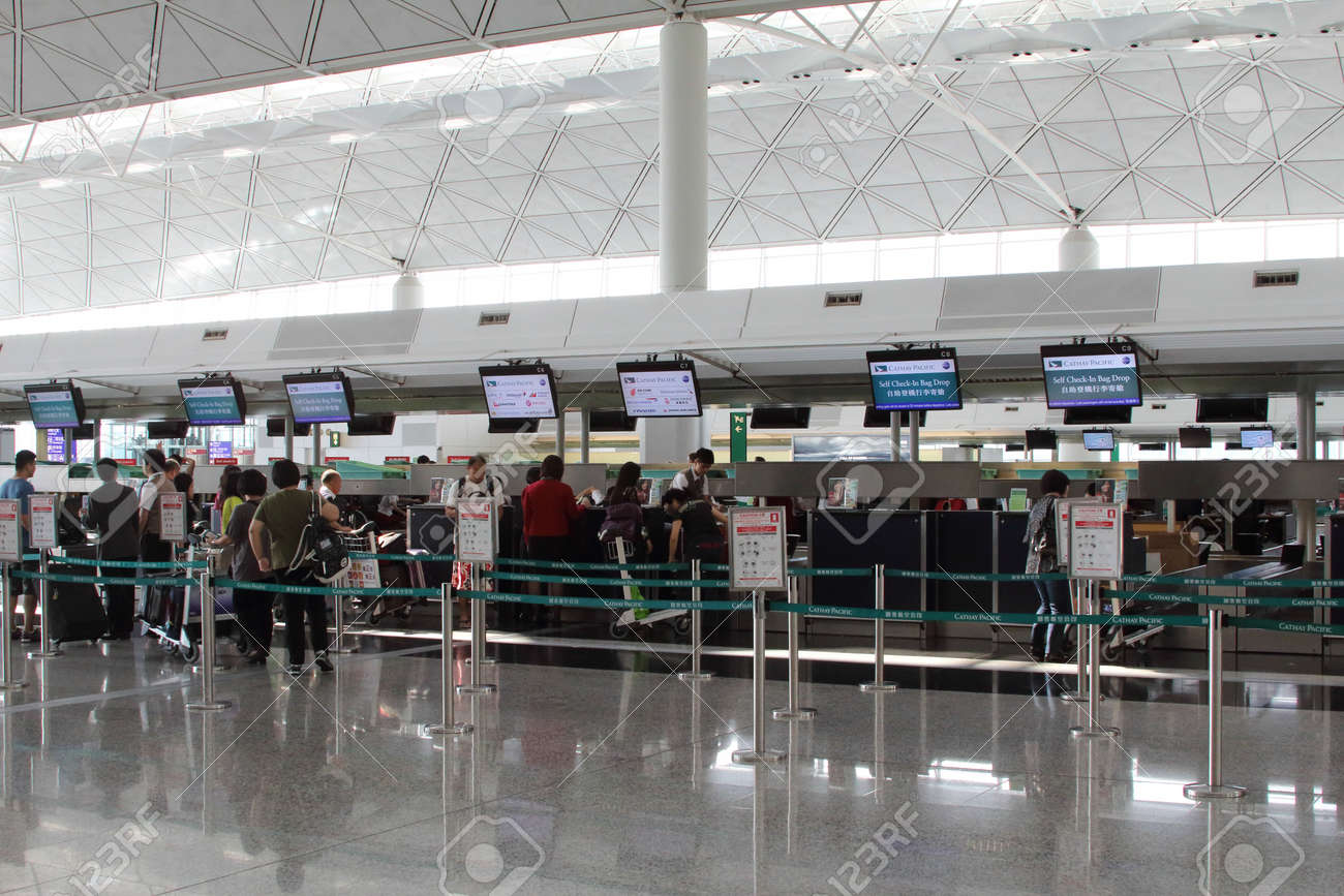 Hong Kong International Airport  HKIA  Cathay Pacific check in desks Stock Photo - 23105179