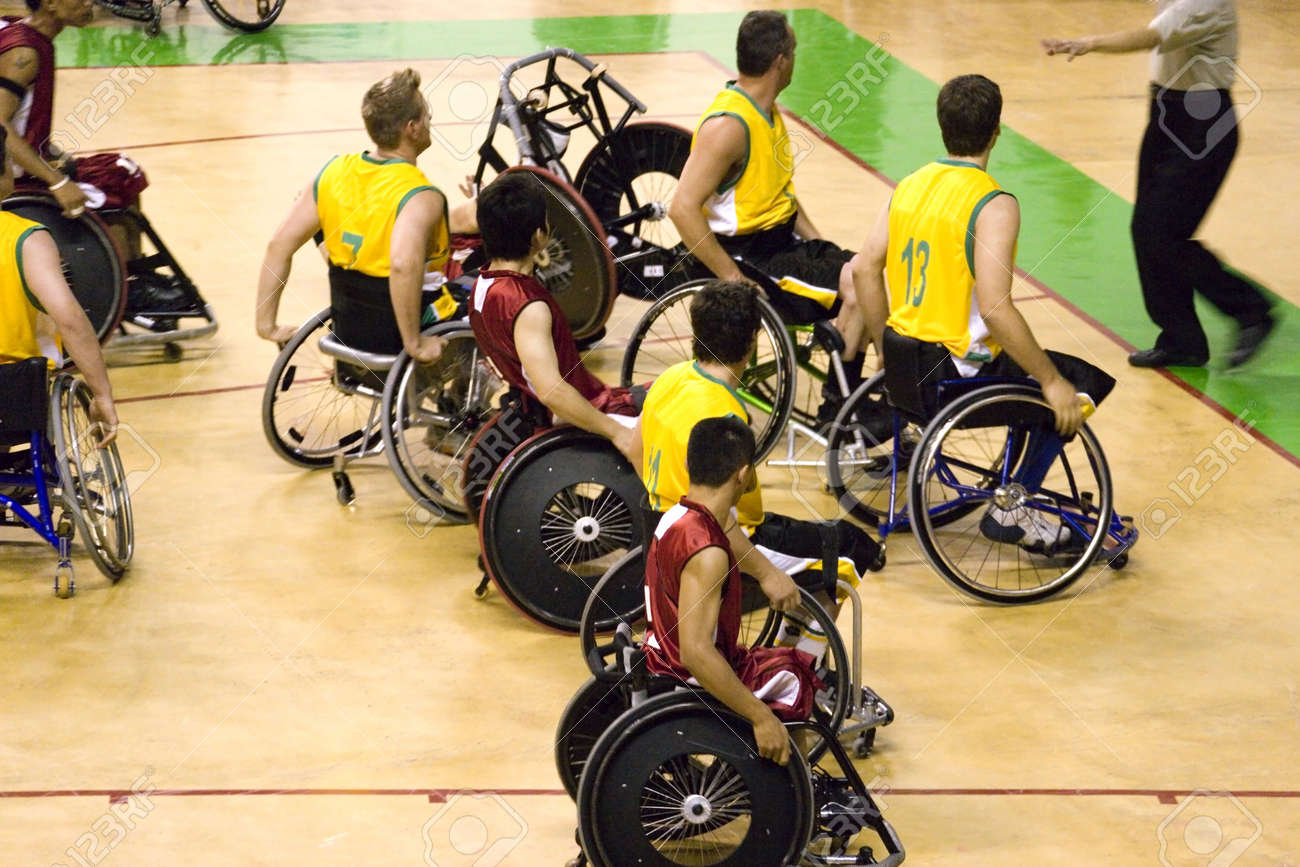 Wheel Chair Basketball for Disabled Persons (Men) Stock Photo - 14376449