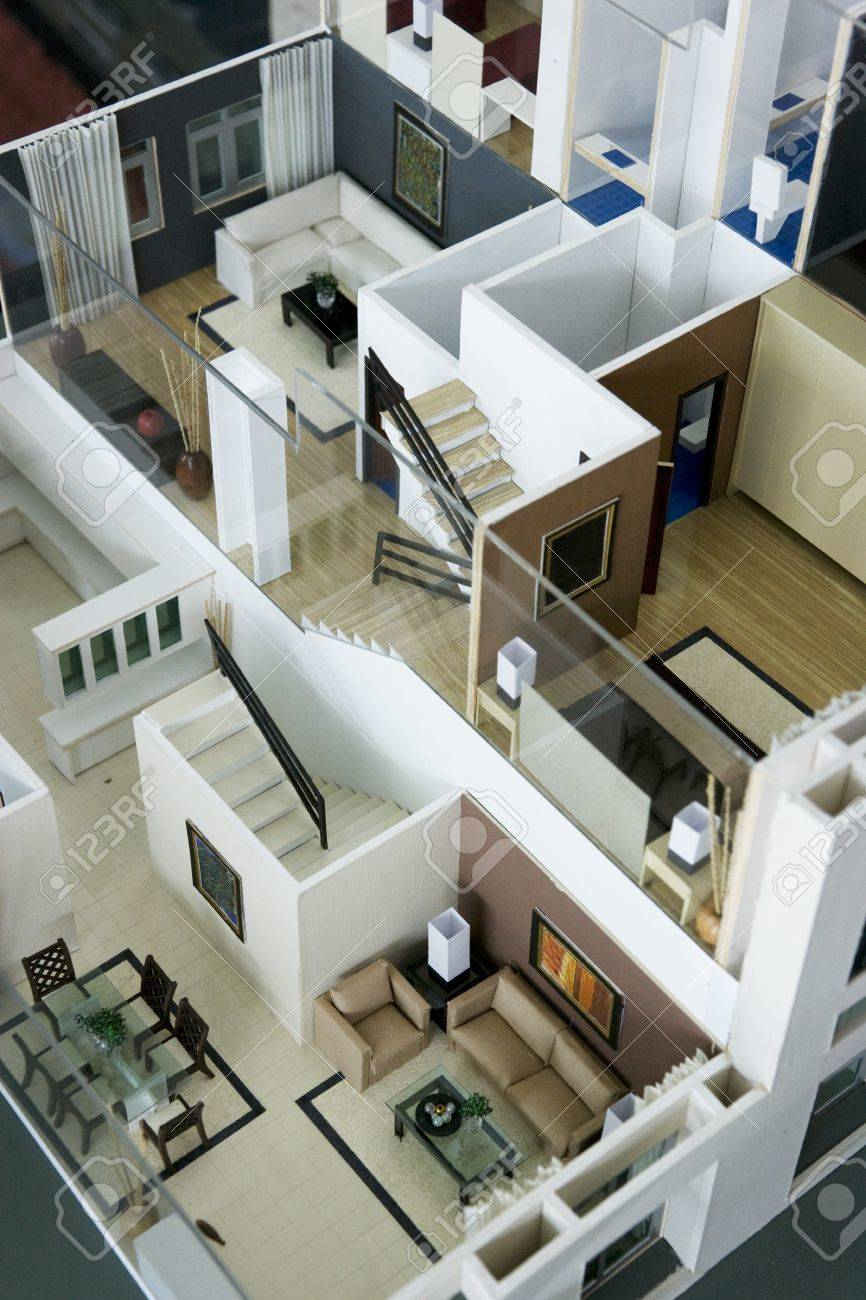 Image of an architect\'s model house interior.