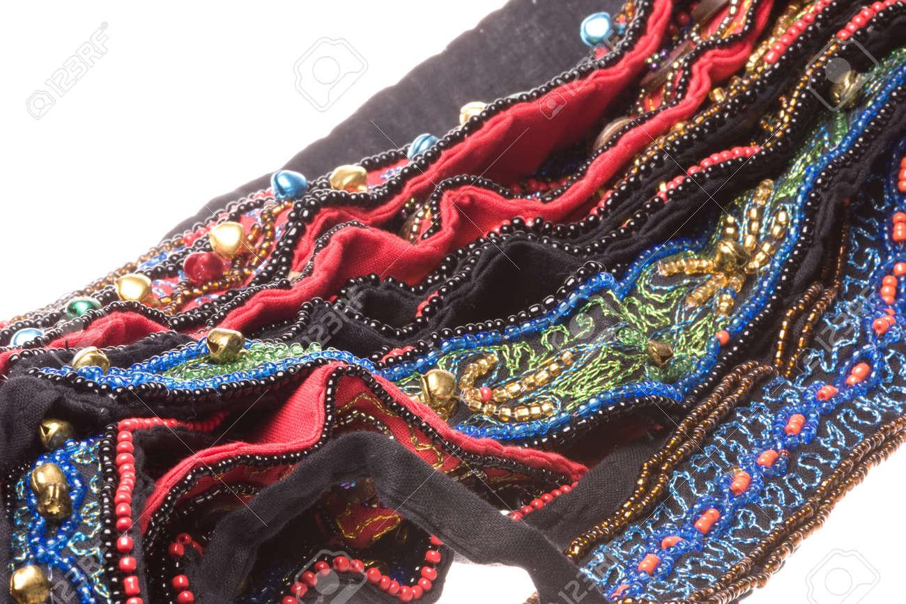 Isolated macro image of traditional Nepalese beaded belts. Stock Photo - 8889008
