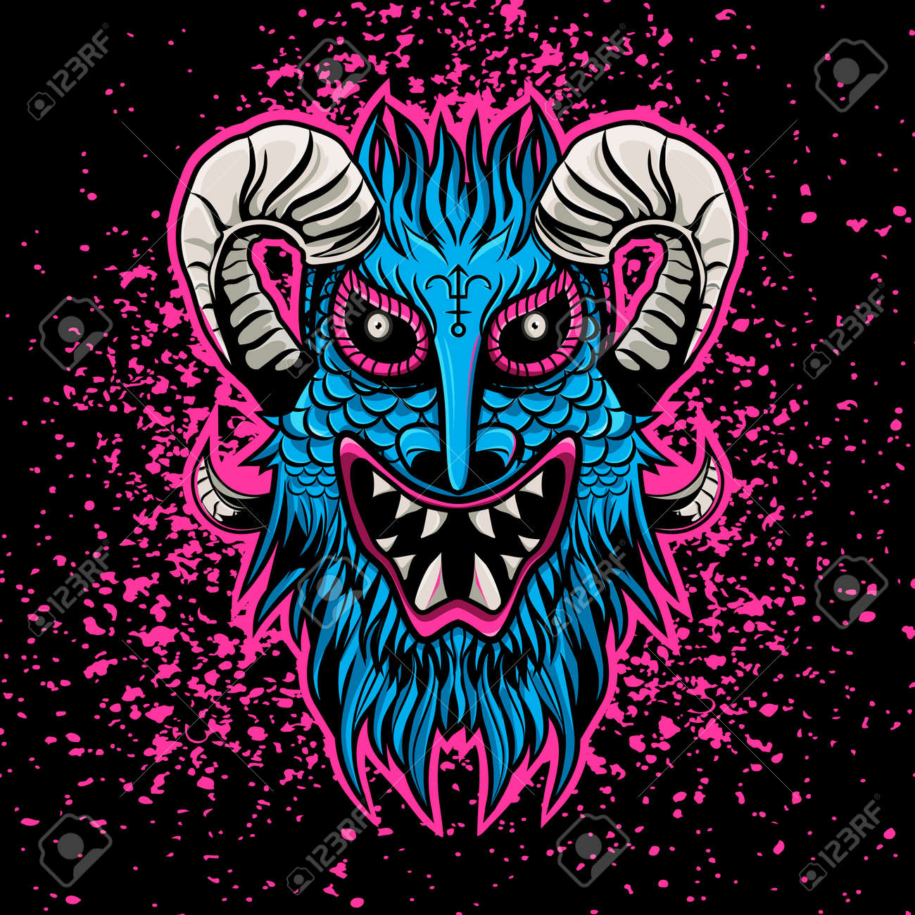 Pink blue angry devil 666 satan mascote flat design Stock Vector - 88856565