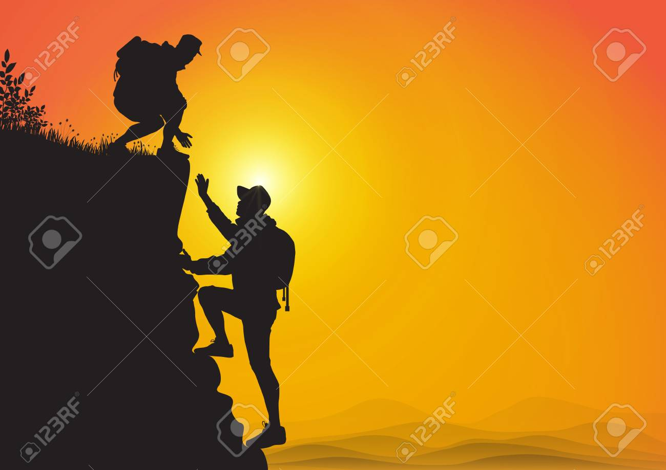 Silhouette of two people hiking climbing mountain and helping each other on golden sunrise background, helping hand and assistance concept vector illustration - 118399482