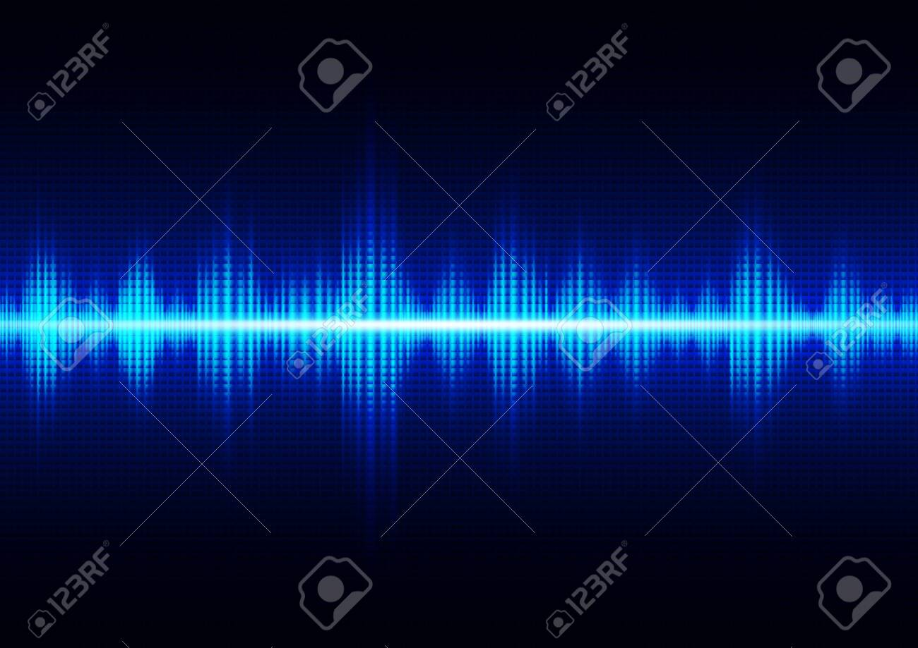 Glowing dark blue digital sound wave, technology abstract background vector illustration - 124172165
