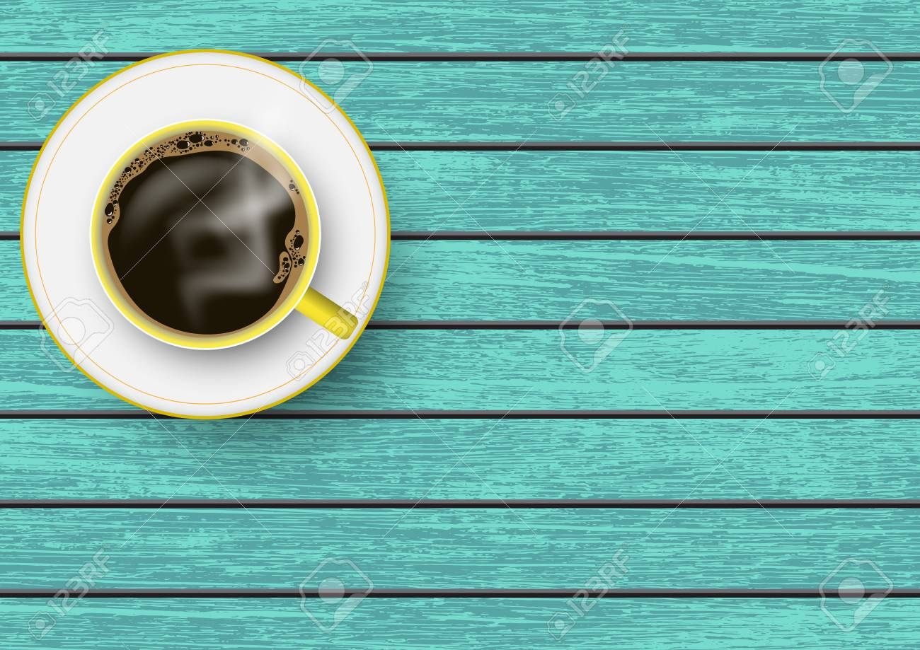 Realistic Yellow And White Coffee Cup With Saucer On Blue Vintage Royalty Free Cliparts Vectors And Stock Illustration Image 123654187