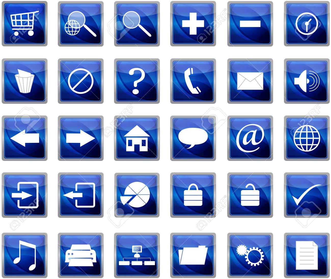 Blue web navigation icons set Stock Vector - 9131524