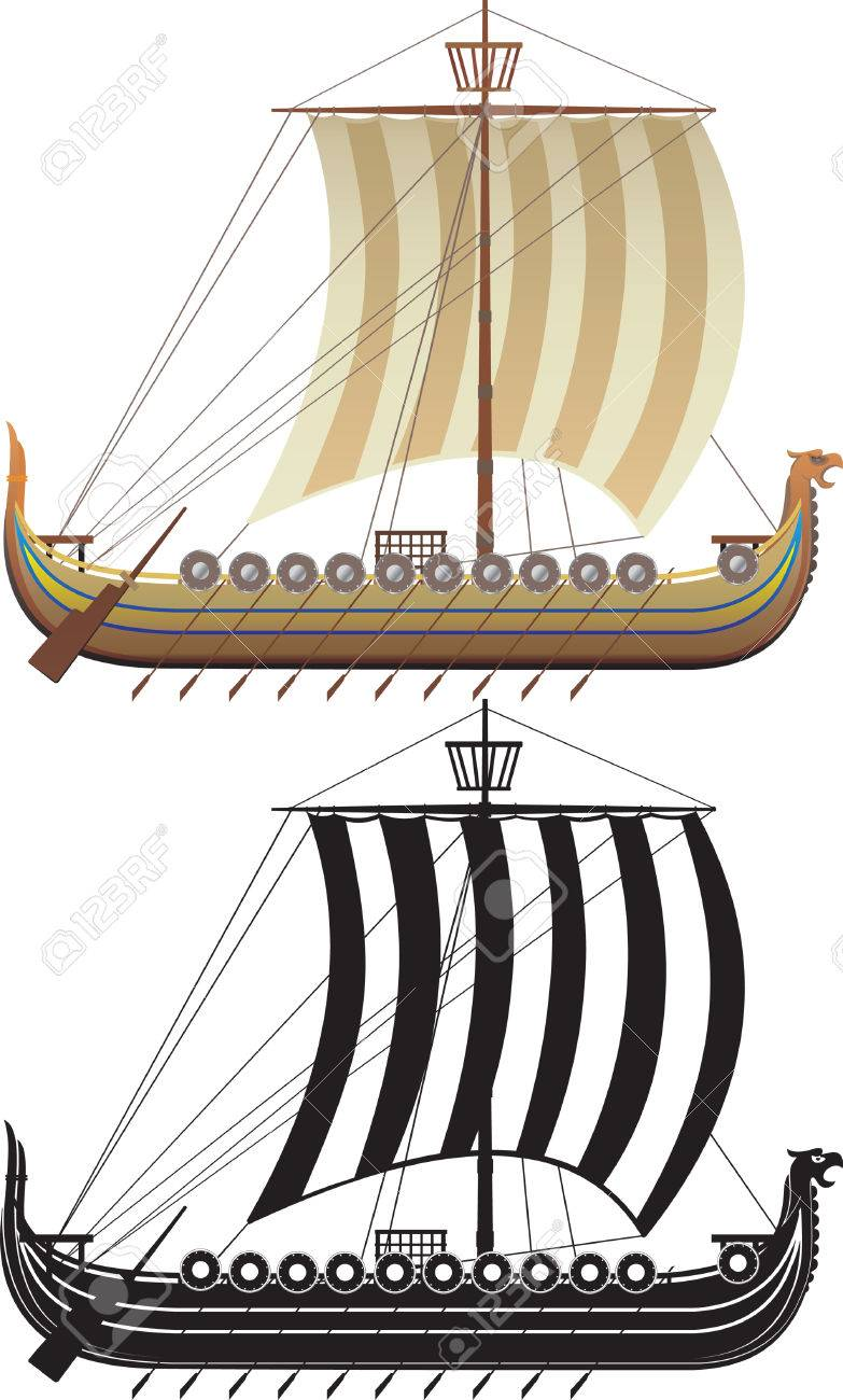 The Viking ship. The full version and a contour Stock Vector - 4025398