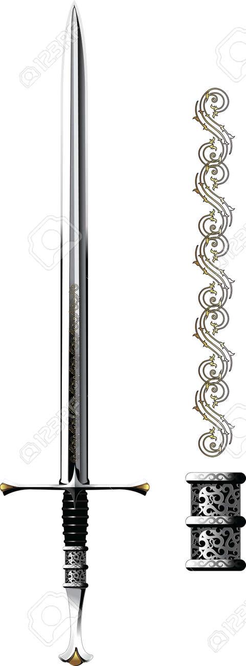 Ornate Steel Sword Stock Vector - 6109524