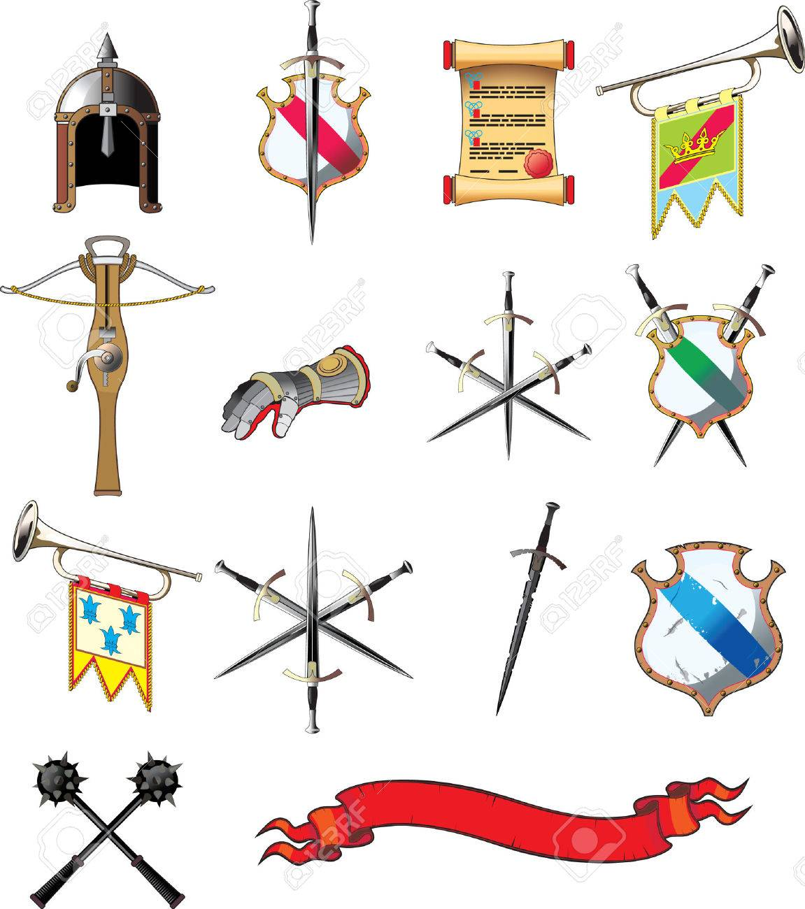 Medieval weapon icon set isolated on white Stock Vector - 6401963