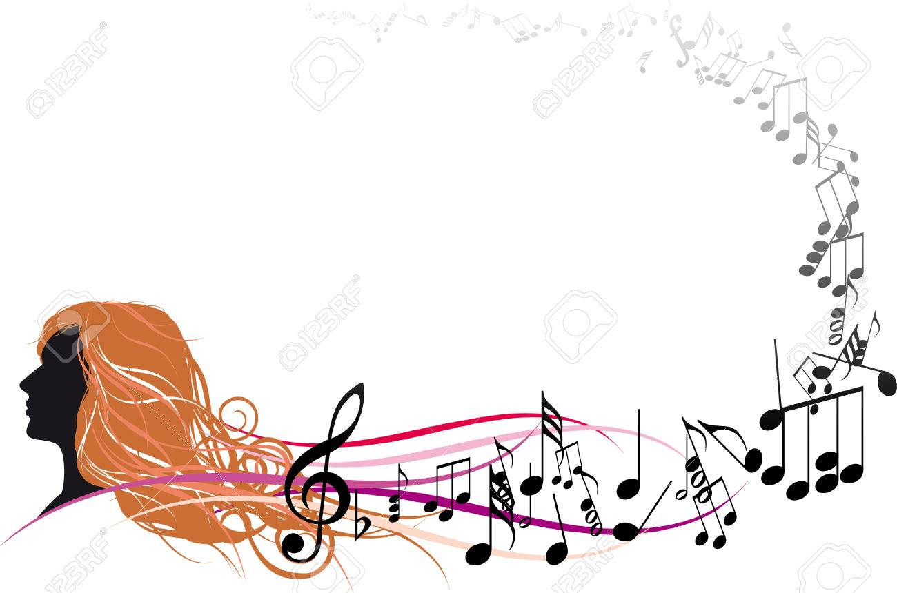 Girl Face with Music notes Stock Vector - 6978737