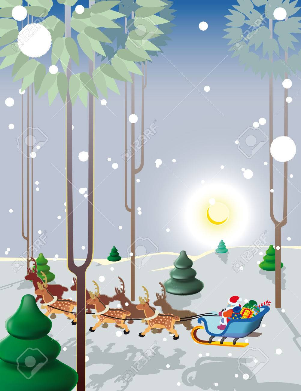 Santa Claus flies reindeer in the light of the moon low over the ground! Stock Vector - 8146235