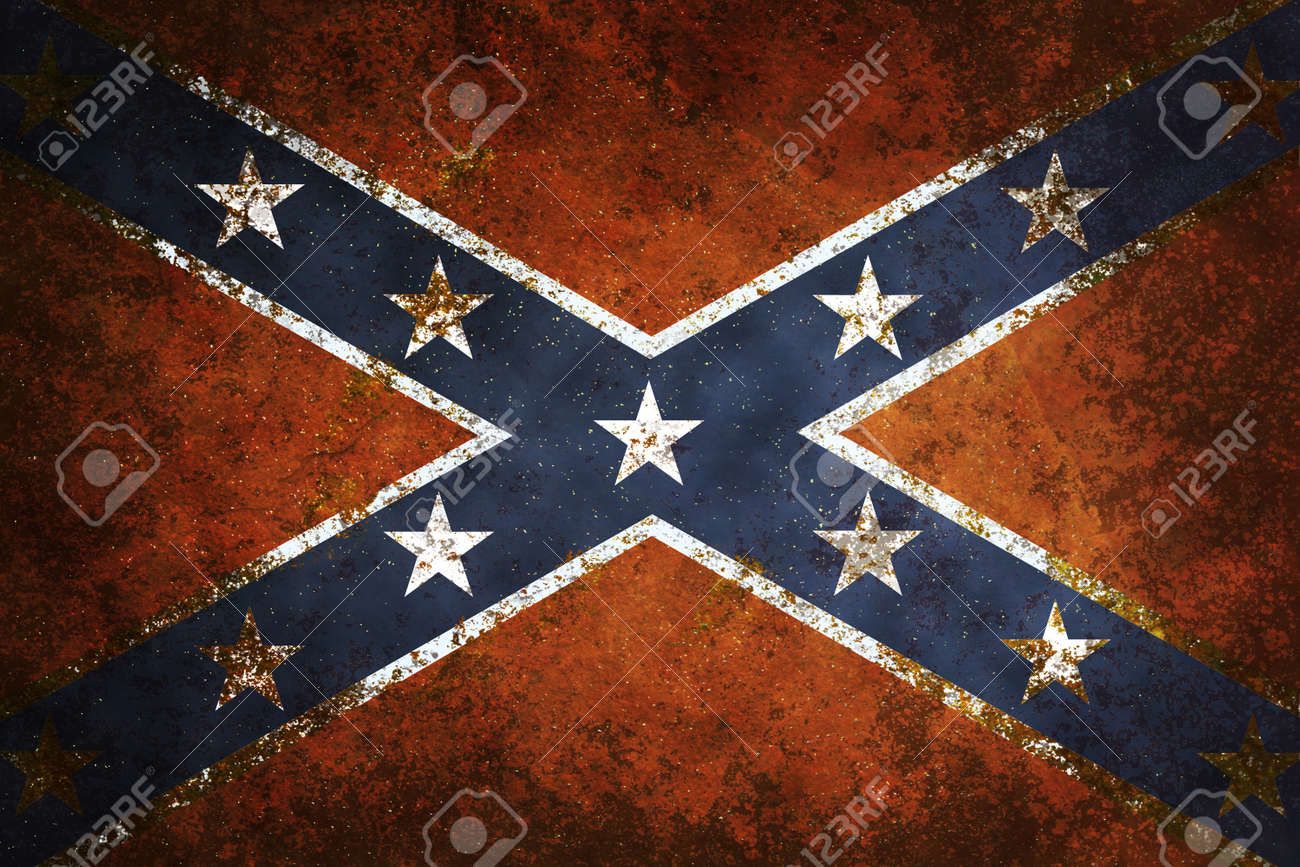 vintage close up of confederate flag grunge background stock photo