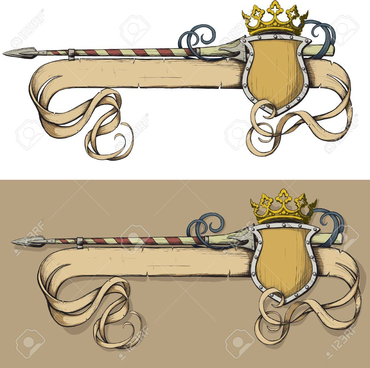 Color Banner spear and crown painted as prints on a white background Stock Vector - 10853578
