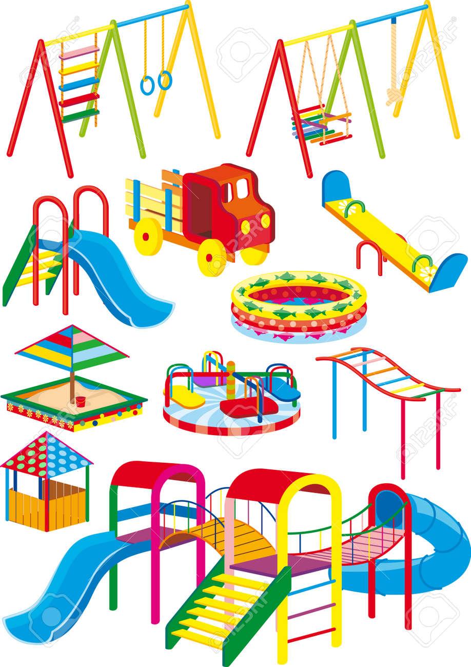 un conjunto de columpios toboganes y atracciones para el parque infantil en la proyeccin foto