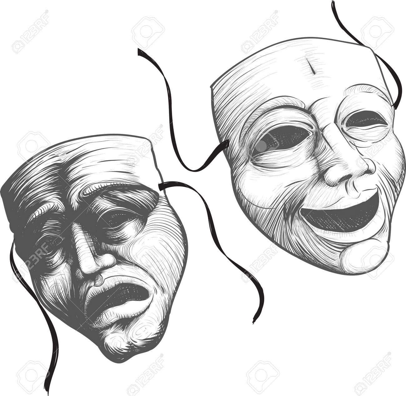 Two classic theater masks a sad and joyous, comedy and tragedy Stock Vector - 16858435