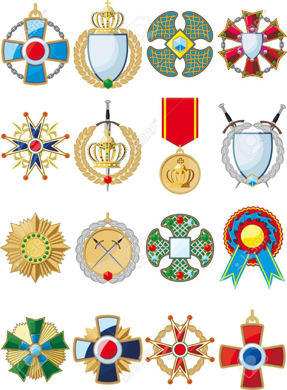 large set of various conceptual medals, badges and awards Stock Vector - 18435495