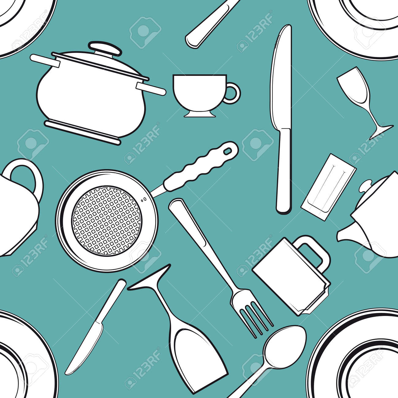 seamless background with antique kitchen utensils and tableware