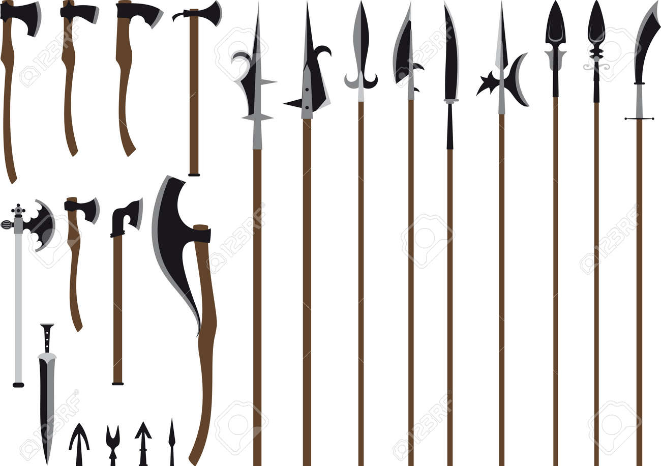 A large set of medieval weaponry  Spears, halberds, axes, sword and arrows  Isolated on white background Stock Vector - 21454732