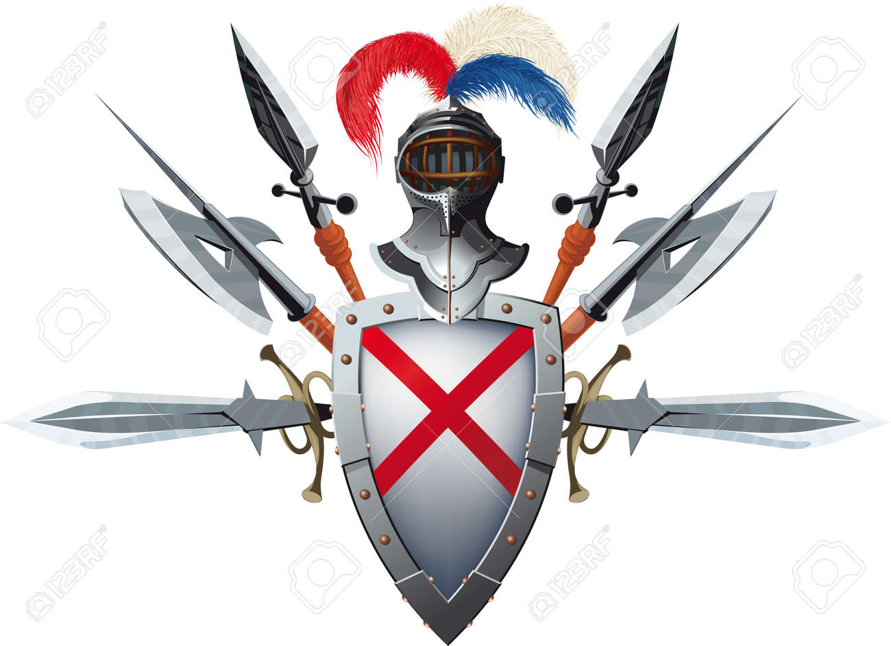Knight's Mascot With Shield, Helmet And Bristling With Weapons ...
