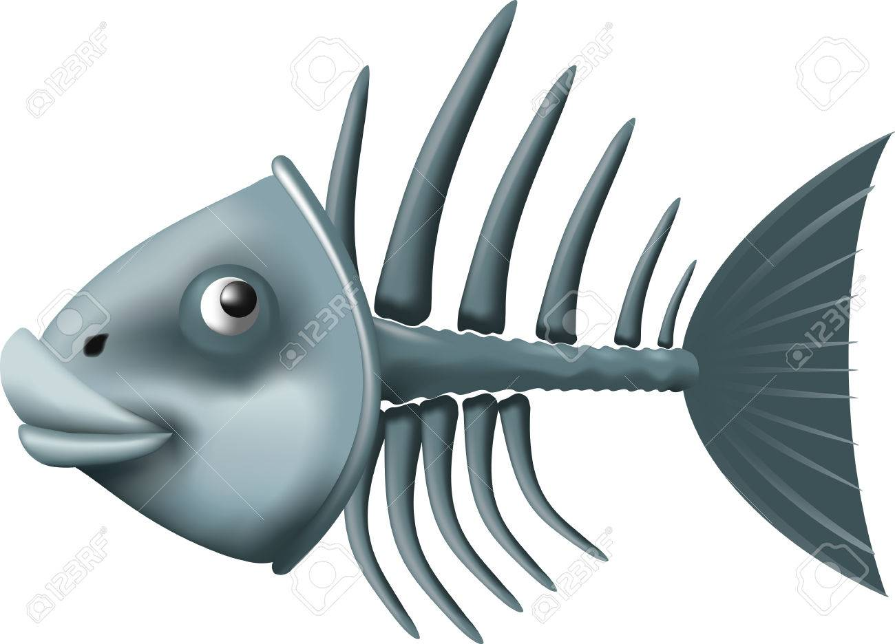 Conceptual fish skeleton isolated on white background Stock Vector - 23111681